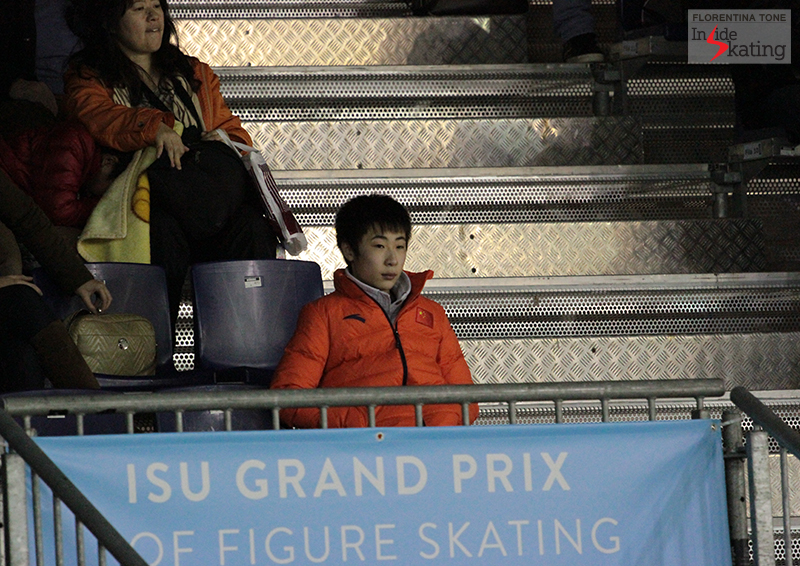 A very attentive Boyang Jin, at the Grand Prix Final in Barcelona, last December