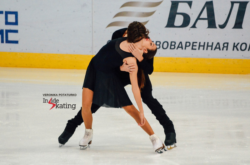"Ksenia Monko and Kirill Khaliavin at the beginning of their free dance, to Nathan Lanier's ""Thorn"" (picture taken in Minsk, Belarus, at 2015 Ice Star)"