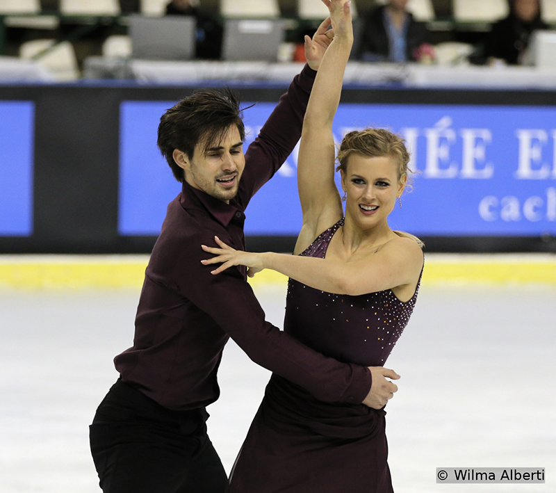Madison Hubbell and Zachary Donohue during their short dance in Bordeaux