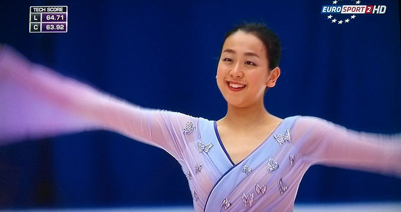 Mao Asada, as Madame Butterfly, at the end of her free skate at 2015 Cup of China (photo: Eurosport Screenshot)