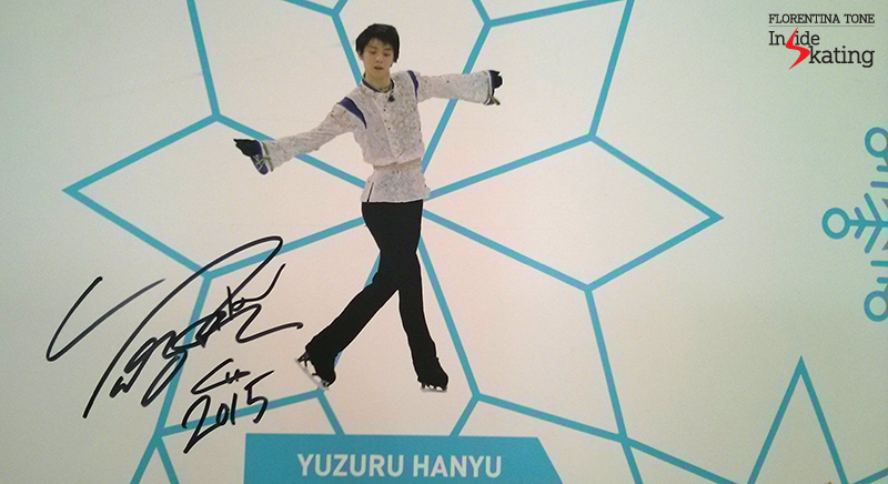 Yuzuru Hanyu's signature on The Wall of the Stars in Barcelona; fans were invited to post their encouraging messages in the area surrounding his photo - and, as you'll see below, they did just that