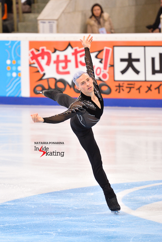 A flying Adam during his Queen short program (Moscow, 2015 Rostelecom Cup)