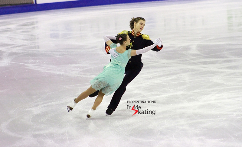 Alla and Pavel during the 6-minute warm-up prior to the short dance in Barcelona