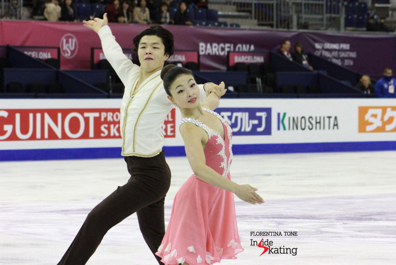 "Maia Shibutani and Alex Shinutani practicing their short dance to music from the ballet ""Coppelia"""