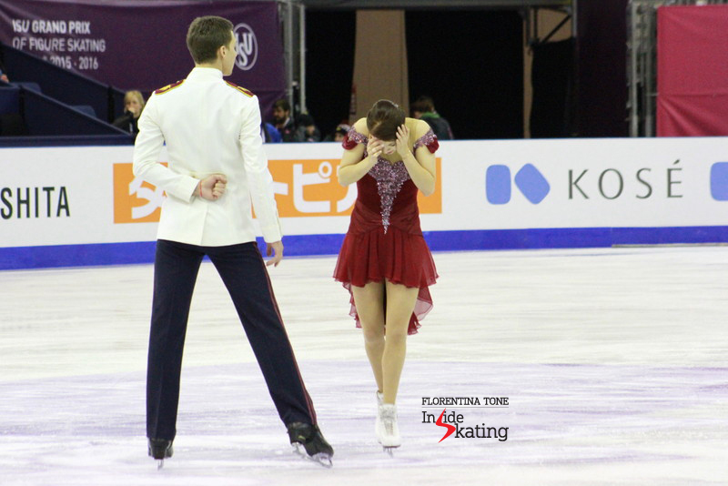 "Ekaterina Bobrova and Dmitri Soloviev practicing their free dance to music from the movie ""Anna Karenina"""