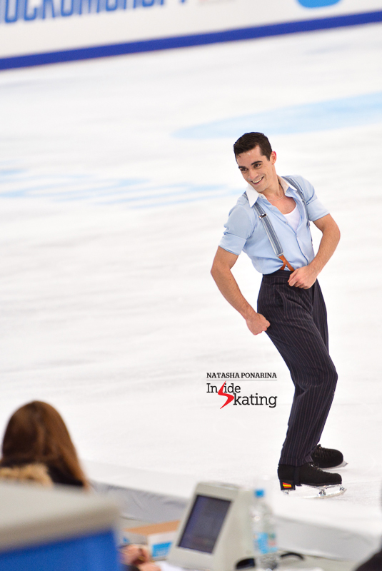 Making eye contact with the judges - and enjoying his time on the ice