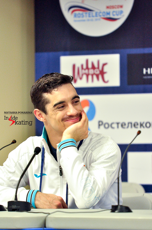 Glimpses from the press conference after the short program - Javier Fernández was lying in second place