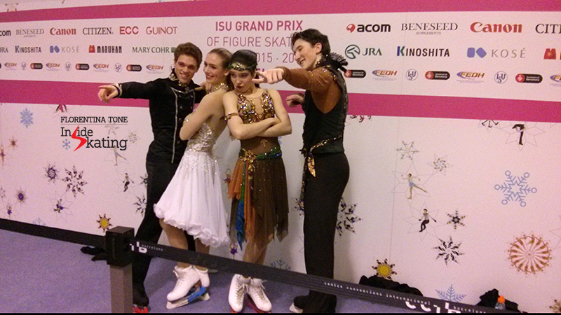 The American ice dance teams, Rachel Parsons&Michael Parsons and Lorraine McNamara&Quinn Carpenter, posing for the photographers in the Mixed zone