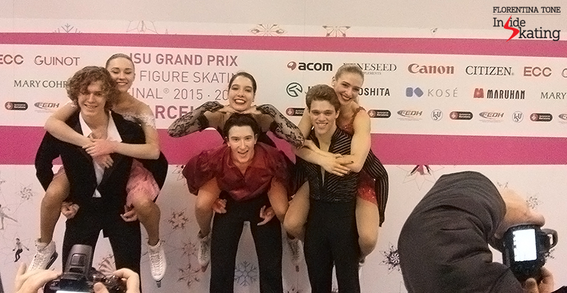 Junior ice dancers, in the Mixed zone after the short dance: Russia's Alla Loboda and Pavel Drozd, America's Lorraine McNamara and Quinn Carpenter, America's Rachel Parsons and Michael Parsons