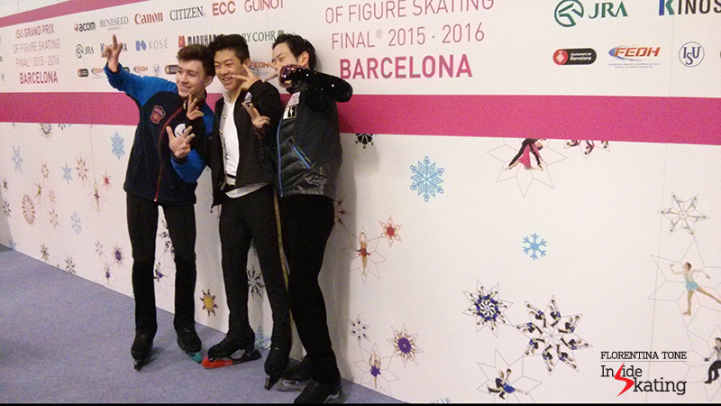 Junior men in the Mixed zone, after SP: Dmitri Aliev, Nathan Chen and Sota Yamamoto