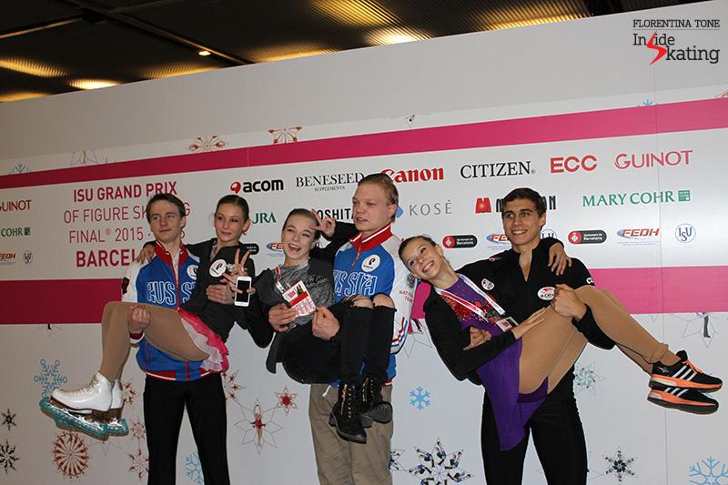 Junior pairs after SP; from left to right: Amina Atakhanova and Ilia Spiridonov (Russia), Ekaterina Brisova and Dmitry Sopot (Russia), Anna Duskova and Martin Bidar (Czech Republic)