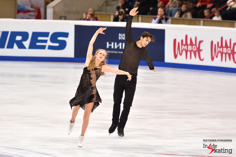 Kaitlyn and Andrew performing their free dance in Moscow, at 2015 Rostelecom Cup