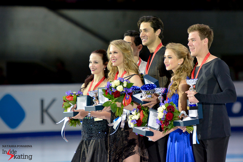The Canadians sure were in the right place at the right time in Moscow at this year's edition of Rostelecom Cup: they won the gold medal and qualified for the fifth Grand Prix Final of their career. The silver was won in Moscow by Italy's Anna Cappellini and Luca Lanotte (left) and the bronze by Russia's Victoria Sinitsina and Nikita Katsalapov (right)