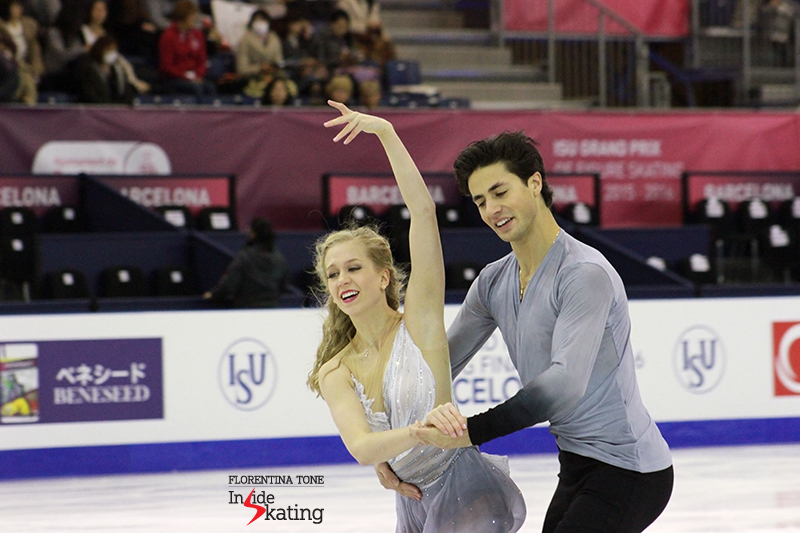 Kaitlyn Weaver and Andrew Poje during practice at 2015 GPF
