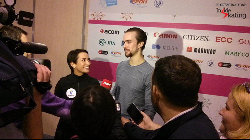 Ksenia Stolbova and Fedor Klimov in the Mixed zone at 2015 GPF