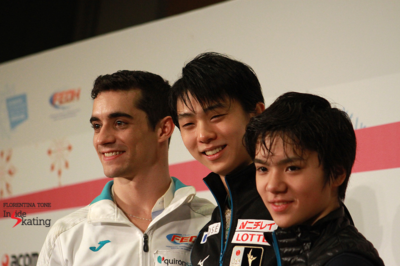 The smiling medalists of the men's event at 2015 GPF