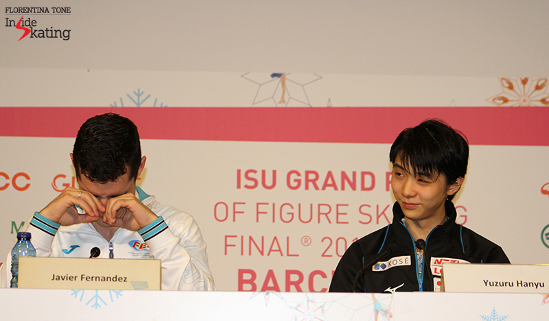 During the press conference, Javier Fernández looks completely exhausted - and Yuzuru's watching him (and his efforts to answer the questions) with a smile...