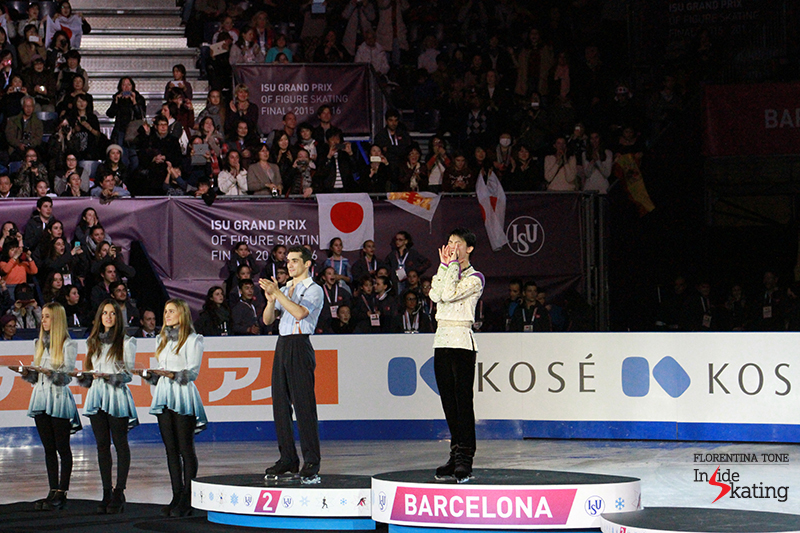 ...and then cheering for the bronze medalist, Japan's Shoma Uno
