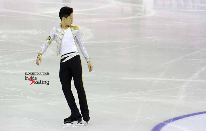 Nathan Chan, aka Michael Jackson, at 2015 GPF, as he attempts a triple Axel