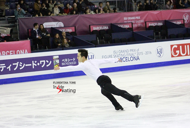Patrick Chan during practice at 2015 GPF
