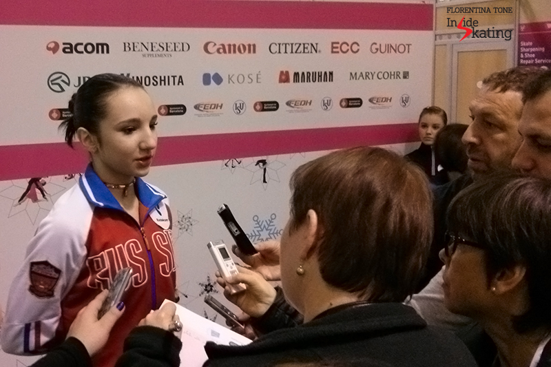 Russia's Polina Tsurkaya talking to the journalists in the Mixed zone
