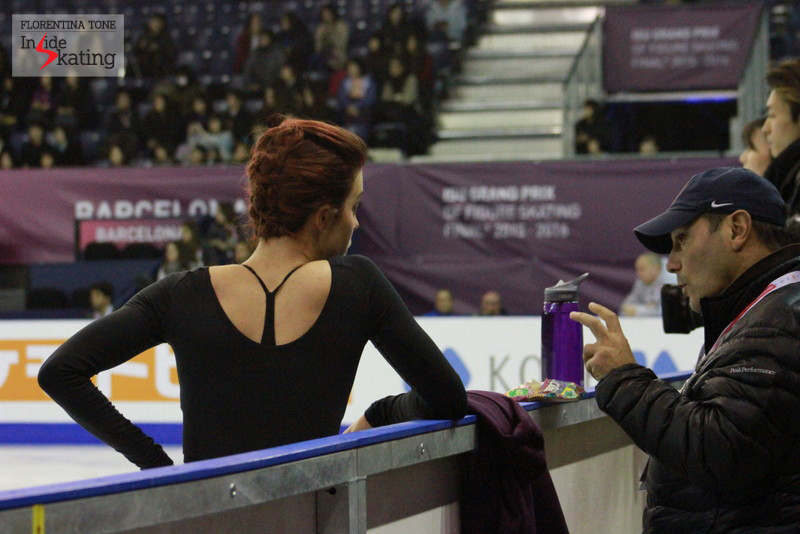 Ashley Wagner talking to her coach, Rafael Arutyunyan
