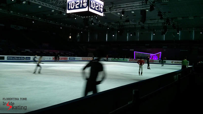 Blurry, but so very nice: (shadows of) skaters practicing their exhibition programs on the morning of December 13 in Barcelona