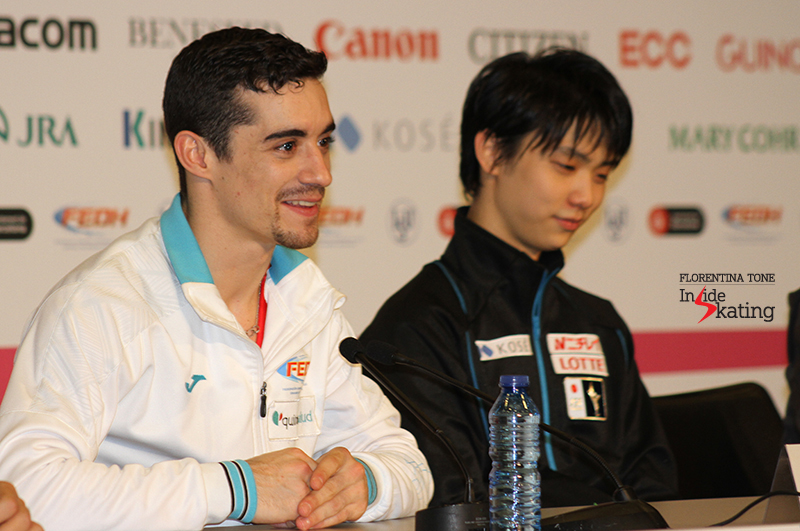 Javier Fernández talks about how it's like to skate after Yuzuru Hanyu's World record score performance - and the Japanese smiles...