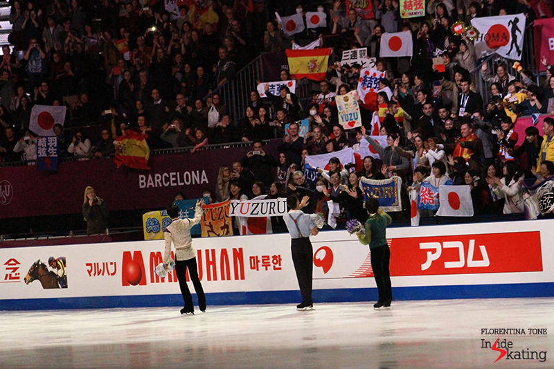 The medalists, thanking the great, supportive audience in CCIB arena in Barcelona