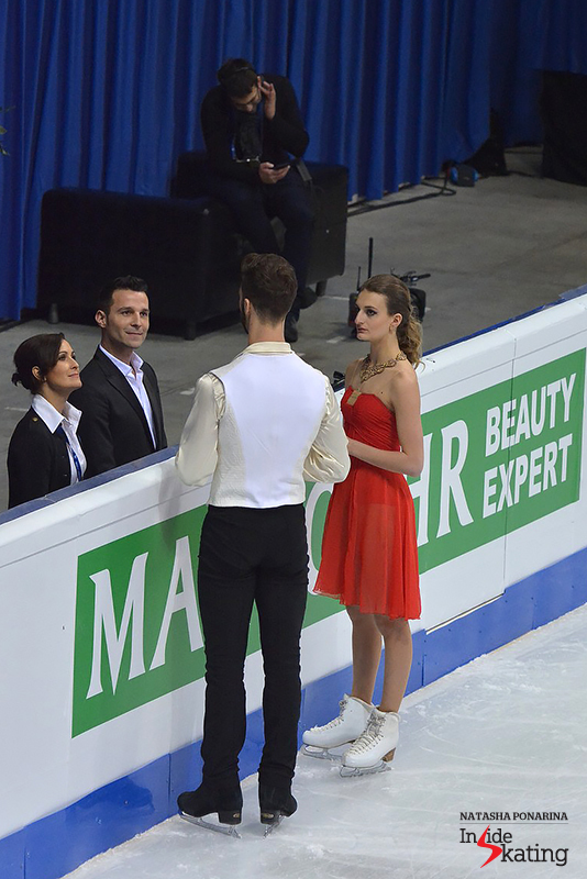 Alongside Marie-France Dubreuil and Romain Haguenauer, seconds before their short dance