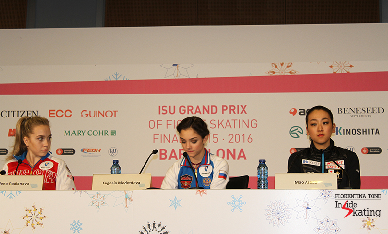 Top 3 skaters after SP at 2015 Grand Prix Final: Elena Radionova (second), Evgenia Medvedeva (first) and Mao Asada (third)