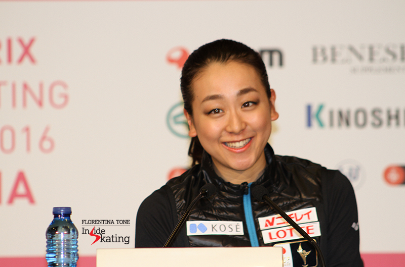 "Asked to give an advice to her younger colleagues on career longevity (she is such a wonderful example, debuting in the senior Grand Prix circuit 10 years ago), Mao smiled: ""Giving advice is difficult..."""