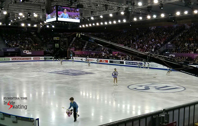 At the end of her free skate