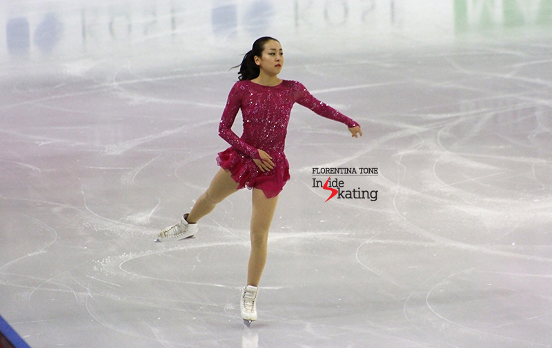 Mao Asada during the 6-minute warm-up before the ladies' SP