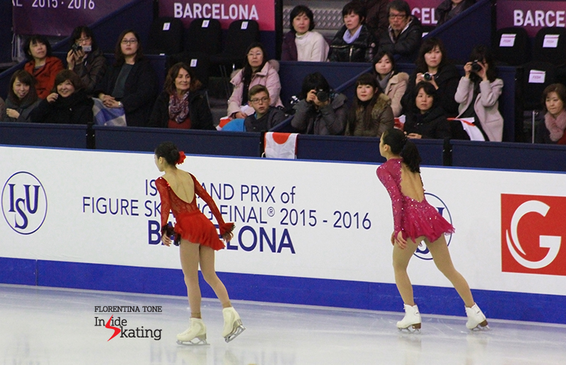 Japan's Satoko Miyahara and Mao Asada during warm-up before SP at 2015 Grand Prix Final in Barcelona