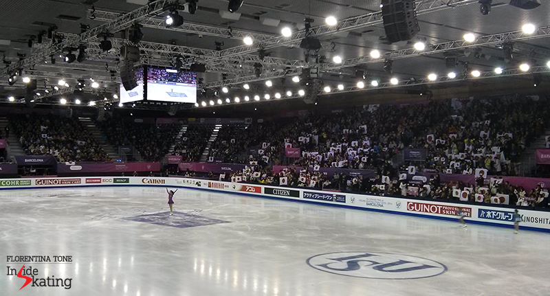 A sea of Japanese flags in CCIB arena at the end of Mao Asada's skate