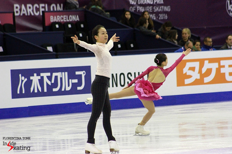 Japan's representatives in the (senior) ladies' event, during practice: Mao Asada and Satoko Miyahara (in the background)