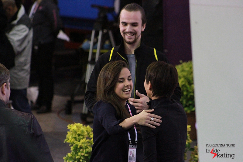 Sara, congratulating Ksenia Stolbova and Fedor Klimov on their win in the pairs event at 2015 Grand Prix Final