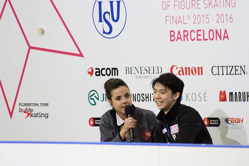 "One of Sara's duties in Barcelona was interviewing the winners in the Kiss and Cry – and she did that with passion and enthusiasm, asking Yuzuru Hanyu, among other things, how come he was that confident during performances. ""How do you train that solid confidence? Do you eat it? Where do you find it? Where should I buy it?"", she asked with a smile. Yuzuru laughed, and answered in all honesty: ""I don't have any idea. I want to get some too… Because I was really, really nervous here, I felt a heavy pressure today"". And then to the audience: ""Please, tell me! How do I get confidence?"""