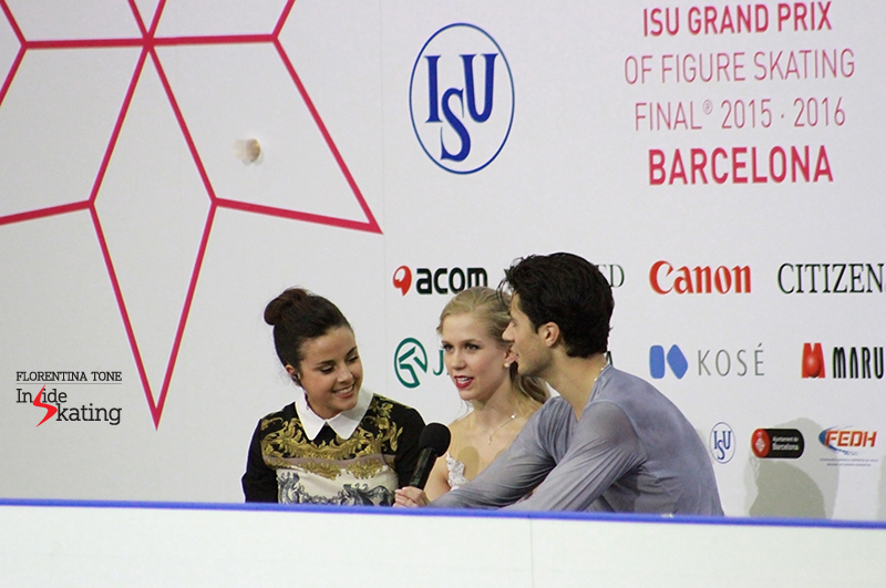 Interviewing Kaitlyn Weaver and Andrew Poje, the winners of the ice dancing event at 2015 Grand Prix Final in Barcelona