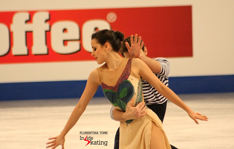 "Sara and Adrià during one of the best seasons of their career: here they are perfoming their ""Surviving Picasso"" free dance at 2014 Europeans in Budapest; less than a month later, they'll finish the ice dancing event at 2014 Olympics in Sochi on the 13th place"