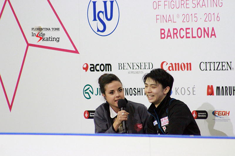 "During the winner's interview at 2015 Grand Prix Final in Barcelona, Yuzuru Hanyu said with a smile: ""I was a flower boy at NHK Trophy when I was little. I was dreaming to be like Plushenko or Johnny Weir or Alexei Yagudin, some top skaters. So please, please don't give up skating, practicing or dreaming"""
