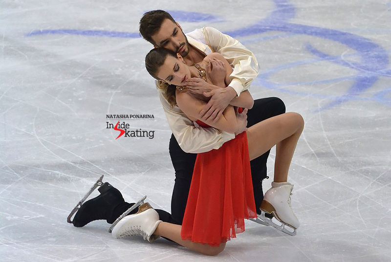 "Sitting in second place at the end of the day were the 2015 European and World champions, Gabriella Papadakis and Guillaume Cizeron, with a completely different type of dance, to ""Charms"", music from the movie ""W.E."", composed by Abel Korzeniowski. It was Waltz again, and March in their case – but no exuberance here: just a round, carefully built story, blending the softness with the tempest, the restlessness with the abandonment. A short dance like the life itself, scaled down to 2 minutes of 50 seconds. The judges awarded them 70.74 points. More photos of their short dance, here."