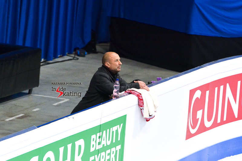 Coaching Alexander Zhulin paying attention to his students' short dance in Bratislava