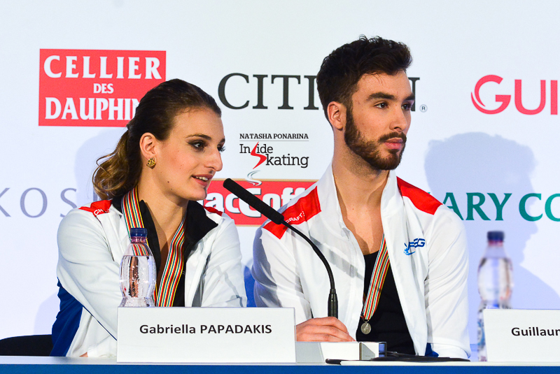 "Sitting in second place after SD, Gabriella Papadakis and Guillaume Cizeron looked at the positives of their performance in Bratislava – this was their first international competition after Gabriella's concussion and the long rest following the accident; they had only competed in French Nationals prior to the Europeans. ""It's our first international competition this season, so it is great to come back and, at the same time, we did a really good job. We did the best we could do today. Of course there is pressure and of course there are people expecting things, but we were kind of in our bubble, so we were not thinking about anything too much"", Gabriella said."
