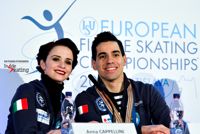 "The winners of the short dance, Anna Cappellini and Luca Lanotte, changed almost completely the second part of their program following the Grand Prix Final in Barcelona. ""We tried to improve the short dance a lot. We have made a lot of changes especially in the second half of the dance. We think that it has already paid off but since essentially the whole second part is completely different, it's not as well trained as the rest of it. Sometimes it has been better than today but we are positive and optimistic for the World Championships"", Anna told the media."