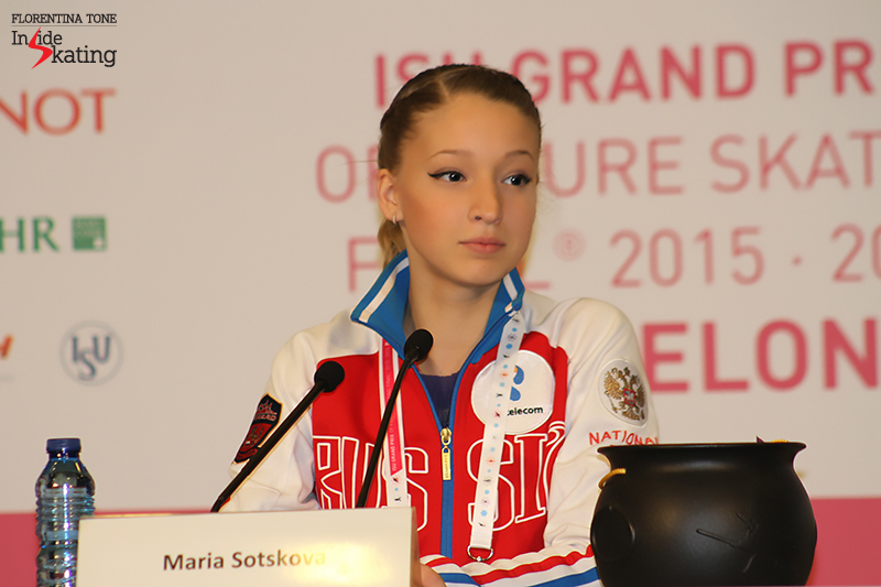 A beautiful, serene Maria Sotskova during the press conference after the free skate; Maria won the silver medal in Barcelona, in the third Junior Grand Prix Final of her career
