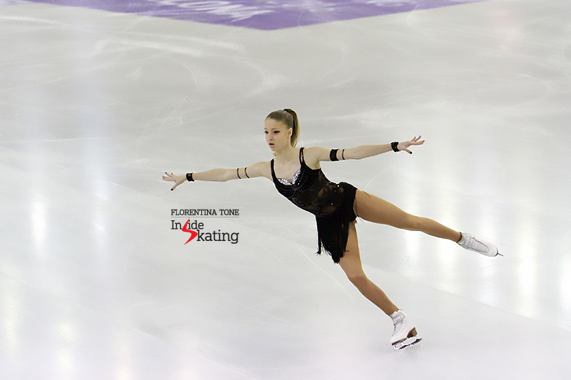 "Russia's Maria Sotskova during the 6-minute warm-up before SP; this season, Maria skated to ""Black Magic Woman"" by Carlos Santana"