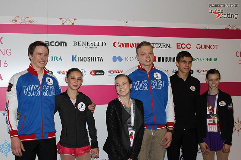 Top 3 pairs after the short program in Barcelona: Amina Atakhanova and Ilia Spiridonov (second), Ekaterina Borisova and Dmitry Sopot (first), Anna Dušková and Martin Bidař (third)