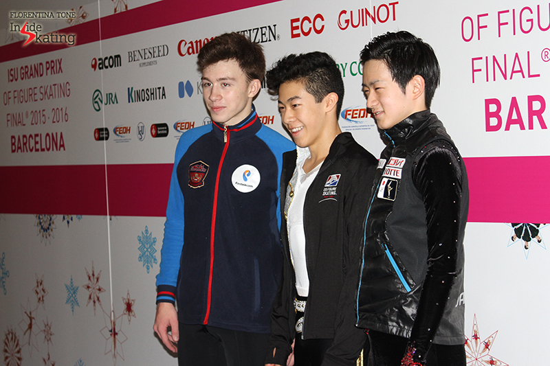 Top 3 men after SP in the mixed zone: Russia's Dmitri Aliev (second), USA's Nathan Chen (first), Japan's Sota Yamamoto (third)